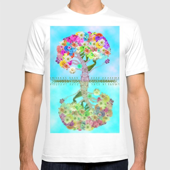 Cute Whimsical Bright Floral Tree Collage Teal Sky T-shirt