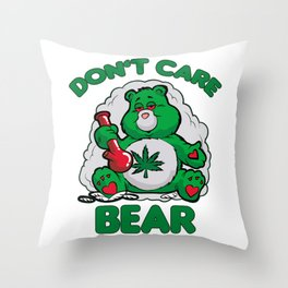 DO NOT CARE BEAR SMOKING WEED Bong Hemp Leaf 420 Throw Pillow