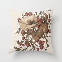 letters Throw Pillows featuring Coyote Love Letters by Jessica Roux