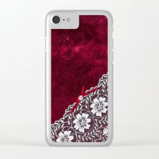 Elegant white Vintage Lace with pearl and ribbon on dark red grunge backround Clear iPhone Case