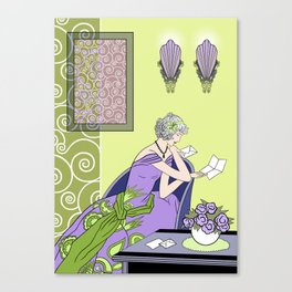 CLARICE: Art Deco Lady - Spring Lilac Canvas Print