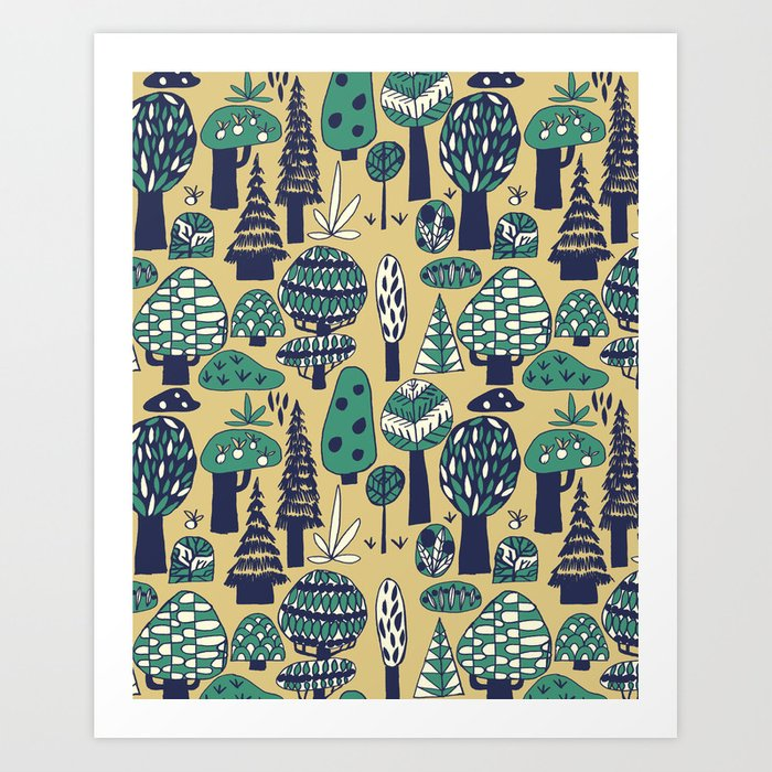 Whimsical tropical jungle pattern Art Print