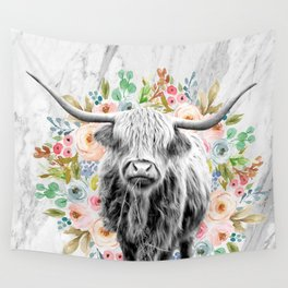 Highland Cow With Flowers on Marble Black and White Wall Tapestry