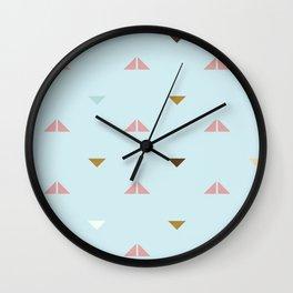 Rustic Pastel Triangles Wall Clock