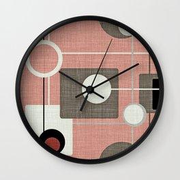 Orbs & Squares Pink Wall Clock