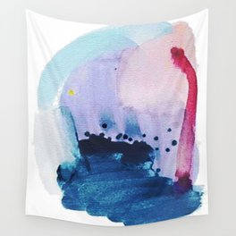 PYT: a minimal abstract mixed media piece on canvas in blues, pink, purple, and white Wall Tapestry