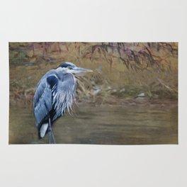 Great Blue Heron on a Rock Rug