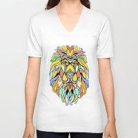 metallic V-neck T-shirts featuring Metallic Lion by J&C Creations