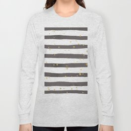 Modern gray yellow white watercolor splatters stripes Long Sleeve T-shirt