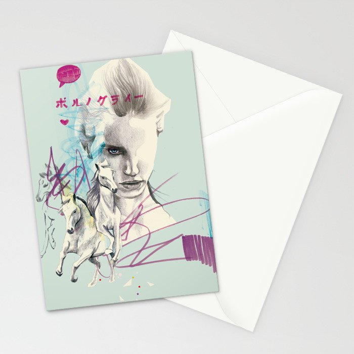 Running with horses Stationery Cards