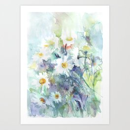 watercolor drawing - white daisies, beautiful bouquet, painting Art Print
