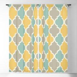 Colorful Quatrefoil Lattice Pattern 139 Yellow Sage and Grey Blackout Curtain