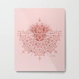 Sacred Lotus Mandala – Rose Gold & Blush Palette Metal Print