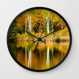 Autumn Reflections - Birch trees on Lake Plumbago Wall Clock