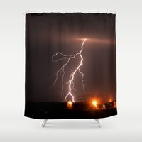 lightning Shower Curtains featuring LIGHTNING by Bobby Goode