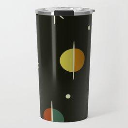 Mid Century Modern Abstract Spheres and Stars Dark Travel Mug