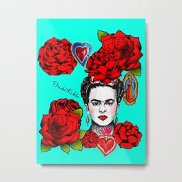 Frida Kahlo Roses Tin Hearts Our Lady Guadalupe Metal Print