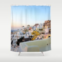Wide Shot of Santorini at Sunset Shower Curtain