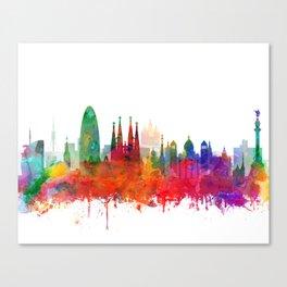 Barcelona City Skyline Watercolor by zouzounioart Canvas Print