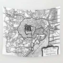 Vintage Map of Tokyo Japan (1752) BW Wall Tapestry