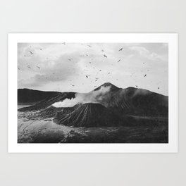 Birds Over Mount Bromo, Indonesia Black and White Art Print