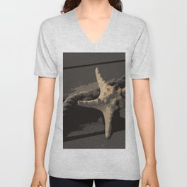 Starfish and boat rope on the pier - dark background - #Society6 - #buyart Unisex V-Neck