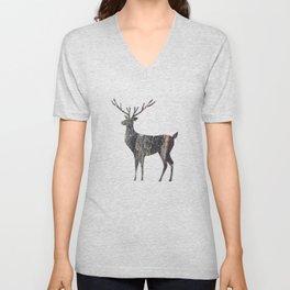 deer silhouette stag black bark with lichen Unisex V-Neck