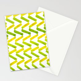 Chartreuse + Lemon Watercolor Chevron  Stationery Cards