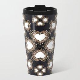 Clover Hearts Black, White, and Rose-Gold Mandala Textile Metal Travel Mug