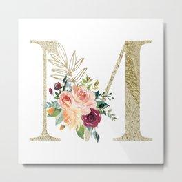 M Monogram Gold Foil Initial with Watercolor Flowers Metal Print