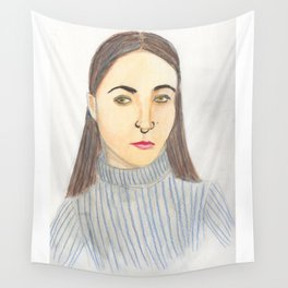 Girl Portriat Wall Tapestry