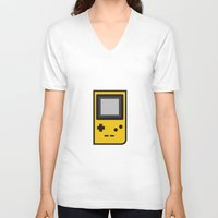 gameboy V-neck T-shirts featuring Gameboy by Andrea Ramirez