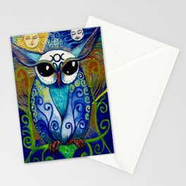By all the Might of Moon & Sun,  Owl.  Print of original illustration by Artist Sheridon Rayment Stationery Cards