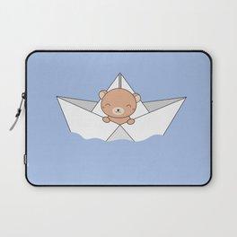 Kawaii Cute Brown Bear On A Boat Laptop Sleeve