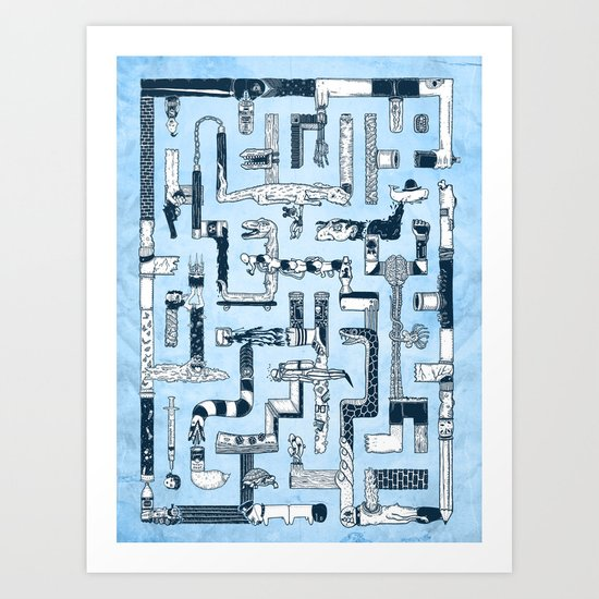 Which Way To The Bathroom? Art Print