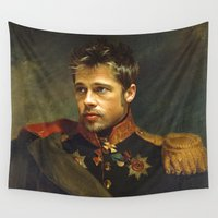 brad pitt Wall Tapestries featuring Brad Pitt - replaceface by replaceface