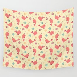 To the Window to the Narwhal - Coral & Cream Wall Tapestry