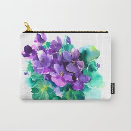 Violet Flowers  Sainpaulia African Violets violet purple yellow floral decor Carry-All Pouch