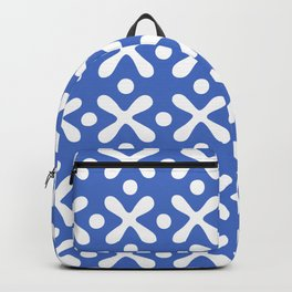 Mid Century Modern X and Dot Pattern Blue 2 Backpack