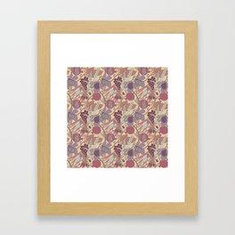 Seven Species Botanical Fruit and Grain in Mauve Tones Framed Art Print