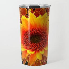 Decor Black & Brown Golden Sunflower Art Travel Mug