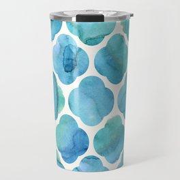 Watercolour Blue Moroccan Tile Print Travel Mug