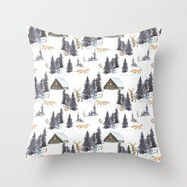 Bear & Mouse - Cute For Kids - Little Winter Wonder Land Throw Pillow