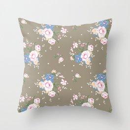 Heirloom Rose - Raw Umber Throw Pillow