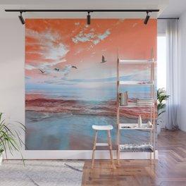 The Orange Sunrise in Sea Side Wall Mural