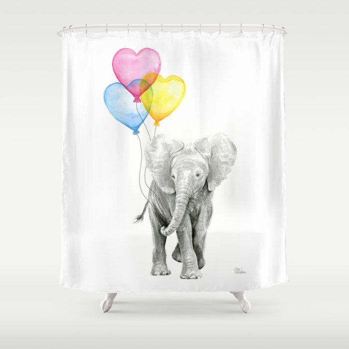 Elephant Watercolor With Balloons Rainbow Hearts Baby Animal Nursery Prints Shower Curtain