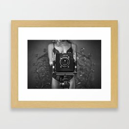Woman in Lingerie with Vintage Antique Camera Framed Art Print