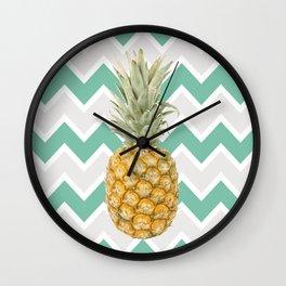 Pineapple & turquoise , Wall Clock