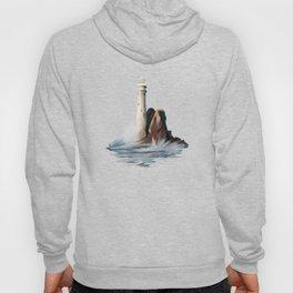 Lighthouse Light House Ocean Rocks and Waves Hoody