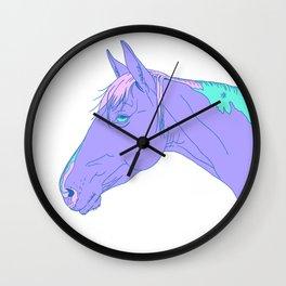 Purple Horse Head Illustration  Wall Clock